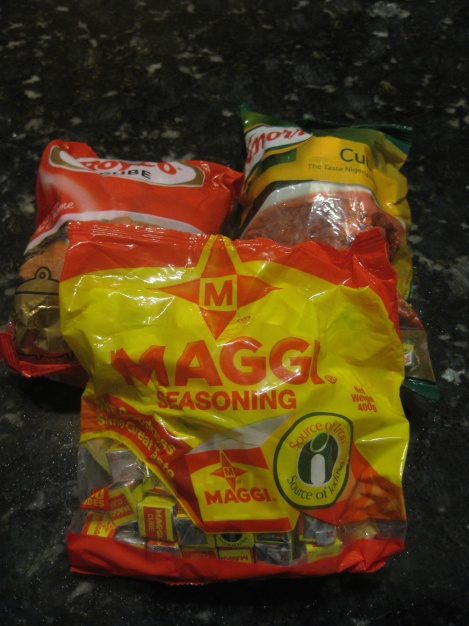 3 pounds of bouillon... although apparently Knorr claims to be the Taste Nigerians Prefer